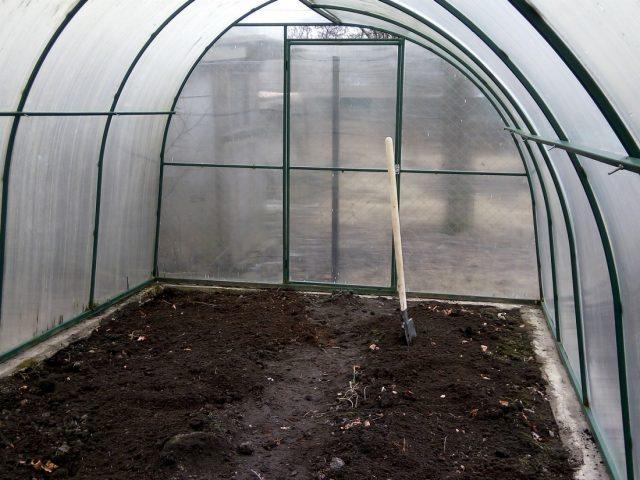 перекопка почвы в теплице